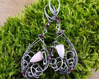 Wire wrapped earring, silver romantic earring, long dangle earring, pink burgundy jewelry