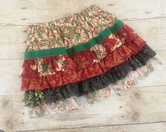 2T Christmas Skirt / Toddler Girls Christmas Ruffle Skirt / Size 2T - Ready to Ship / Toddler Holiday Skirt / Toddler Christmas Skirt