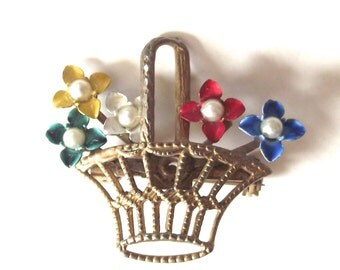 Basket of Flowers Vintage Ladies Pin or Brooch, Faux Gold Filigree with Bright Colored Blooms