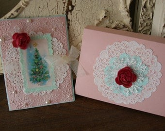 Pink Christmas card vintage style Shabby Chic greeting card paper art card Christmas gifts
