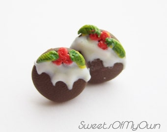Christmas Pudding Earrings - Stud Earrings - Handmade Christmas Jewellery Cute Food