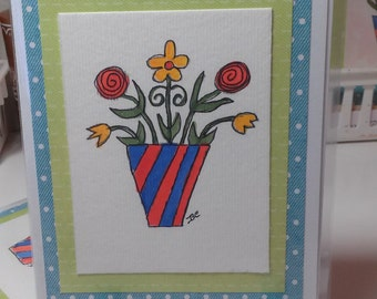 PIF Watercolor Original Art Greeting Card Flowers All Occasions Card Promo Card