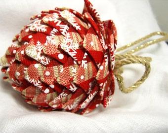 red plaid snowflake burlap holiday ornament