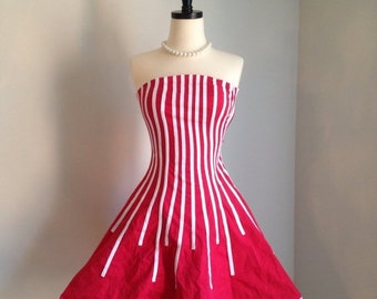 VALENTINES DAY SALE vintage 1980s strapless dress red white stripe mini dress circus avant garde Candy Girl