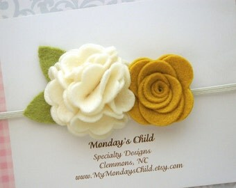 Fall Baby Headband, Felt Flower Crown, Baby Flower Crown, Felt Flower Headband, Baby Headband, Newborn Headband, Toddler Headband