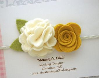 Felt Flower Crown, Baby Flower Crown, Felt Flower Headband, Fall Baby Headband, Baby Headband, Newborn Headband, Toddler Headband
