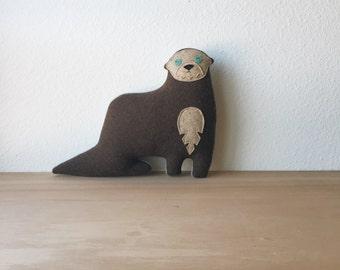 the Otter - woolen otter plush pillow