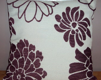 Set Of 3 Aubergine Purple Chenille Floral Pillow Covers - Purchase With Or Without Pillow Forms