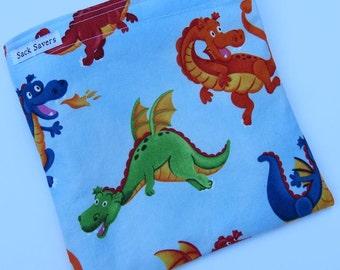Reusable Sandwich Bag Reusable Snack Bag Eco Friendly Bag Dragon Sandwich Snack Bag