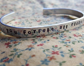 you forefeit all rights to my (heart stamp) Eliza Hamilton Musical Inspired Handstamped Aluminium Cuff Bracelet