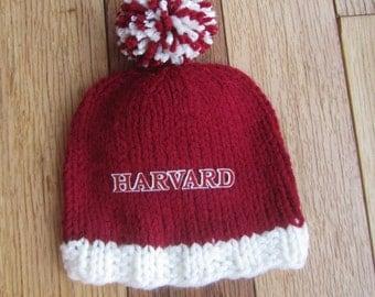 HARVARD BABY HAT, Hand Knit Baby Hat, Harvard, Harvard Hat, Hand Knitted Baby Hat, Baby Hat