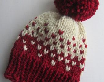 Fair Isle Knit Hat, Red and White Fair Isle Knit Hat, Women's Knit Hat, Men's Knit Hat, Winter Hat, Hand Knit Hat, Knit Hat, Chunky Knit Hat