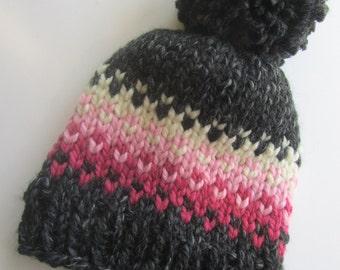 Grey and Pink Fair Isle Knit Hat, Fair Isle Hat, Knit Hat, Women's Knit Hat, Men's Knit Hat, Hand Knit Hat, Knit Hat, Chunky Knit Hat
