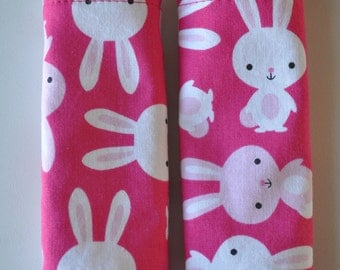 Baby Girl Hot Pink Bunny Rabbit Minky Reversible Car Seat Stroller Strap Covers