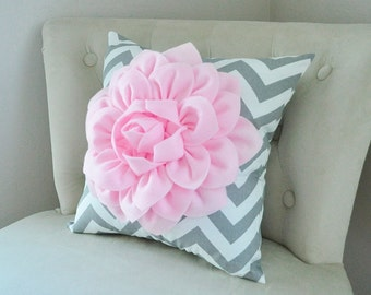 Baby Nursery Decor Light Pink Dahlia on Gray and White Chevron Pillow -Pink Grey Nursery - New Baby Gift, Baby Shower Gift