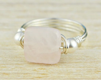 Square Rose Quartz and Pearl Ring -Yellow or Rose Gold Filled or Argentium Sterling Silver Wire Wrapped- Any Size 4,5,6,7,8,9,10,11,12,13,14
