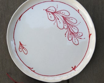 Canape Handpainted Botanical on Round Trinket Dish Plate Porcelain Ceramic in Red and White, Handmade Artisan Pottery by Licia Lucas Pfadt