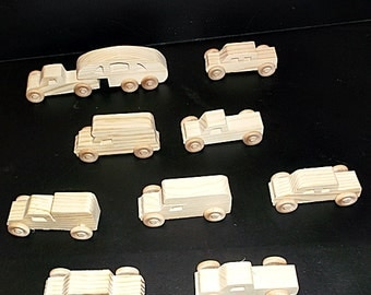 10 Handcrafted Wood Toy Pickups, RVs  OT-24  unfinished or finished