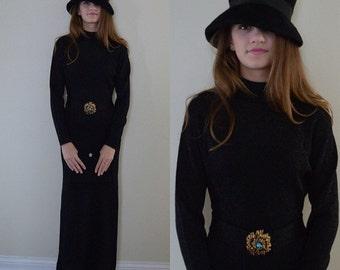 Rare Vintage Dress, Vintage Dresses, Vintage Black Dress, 1970s Dress, 1970s Huguette London, Black Knit Dress, Evening Dress, Black Dress