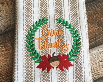 Give Thanks crest embroidery design