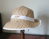 Womens summer hat | brim | beach | sun | rhinestone leaf | straw