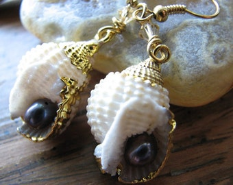 Seashell earrings | pearl earrings | purple | gold dipped | topaz | nautical wedding