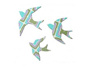 Green and Mauve Sunny Swallows - Wall Art - Retro
