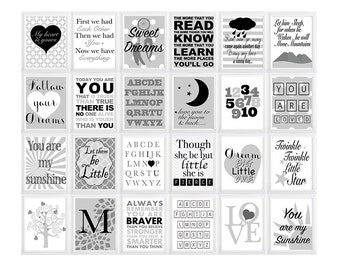 Initial Letter Quote prints ONE PRINT baby nursery decor, nursery wall art, kids art, Sunshine nursery for baby  colors can be c hanged