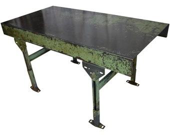 Industrial Steel Worktable with Adjustable Legs