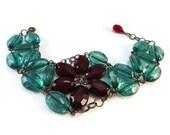 Cherry Red and Green Flower Bracelet Emerald, Floral Bracelet Green and Red Poinsettia Bracelet, Christmas Bracelet Poinsettia Jewelry