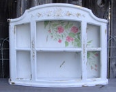 Vintage Syroco like Shelf Chippy White Pink Roses Shelf Curio Plate Display Distressed Shabby French Country Chic Holds Tea Cup