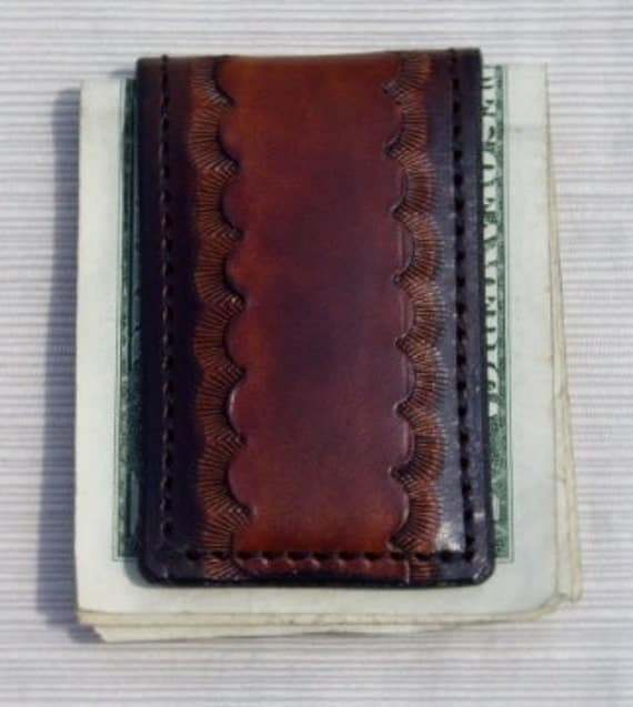 Two Tone Leather Money Clip