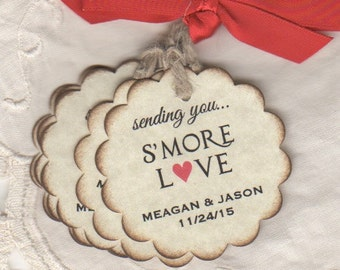 50 CUSTOM Smore Love Wedding Favor Tags, Personalized S'More Wedding Tags Labels, Escort Tag Place Cards - Vintage Inspired
