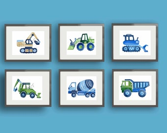 boys construction art , busy builder nursery art , children art prints , construction trucks artwork , construction wall art decor
