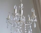 RESERVED FOR ROBI on sale petit Italian crystal chandelier, 50s vintage repurposed ivory