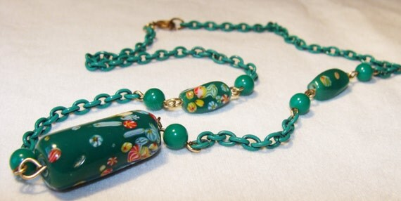 Vintage enamel necklace/lampwork bead necklace/enameled chain/1930 necklace/1940 necklace/bohemian necklace/boho chic fashion/retro necklace