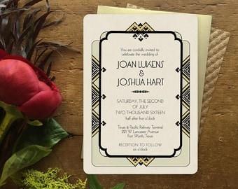 Gold Wedding Invitation. Art Deco Wedding Invitation, Gatsby Wedding, Wedding Invitations, Art Deco Save the Date, Art Deco Wedding, Savoy