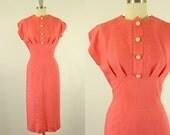 1950's Pink Pin Stripe Sheath Dress S M