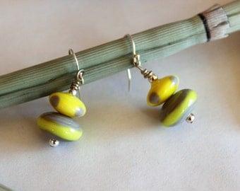SALE GLASS EARRINGS- Dangle Earrings, Bead Earrings, Yellow Gray Grey Under 20, Artisan Earrings, Gift for Birthday, Gift for Coworker