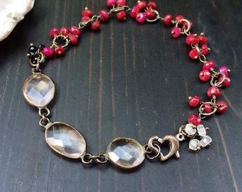 Ooak Bracelet Ruby Rose Quartz Moonstone Black Spinel tarnished sterling silver
