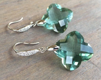 OOAK Luxury Green Amethyst Earrings - pave Sterling Silver french hooks.