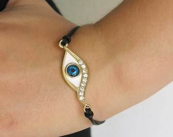 gold bracelet, evil eye bracelet, lucky bracelet, turquoise bracelet, stacking bracelets, blue bracelet, friendship bracelet, gift for her