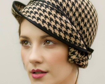 Felt Cloche Hat, Wool Houndstooth Hat, Camel, Brown or Grey Pied-de-poule Designer Millinery - Charis