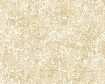 Cream Beige Scroll Blender - In Bloom by Dan Morris for Quilting Treasures - Full or Half Yard Light Beige Tonal Scroll Blender