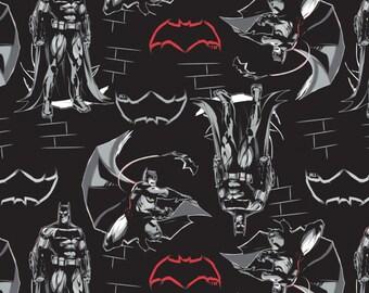 Batman Fabric - Batman v Superman from Camelot Fabrics - Full or Half Yard Batman on Black