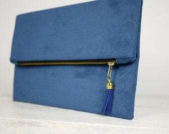 Navy Blue Fold Over Clutch