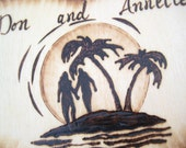 Beach wedding cake topper -Silhouette Couple holding hands, Island Palmtrees, Beach Sunset, Rustic Chic, Wood Heart, Personalized Pyrography