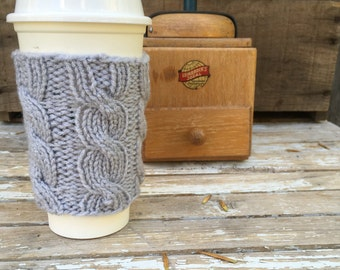 Coffee Cup Sleeve, Coffee Cup Cozy, Coffee Sleeve, Mug Cozy, Light Gray, Cable Knit Coffee Cup Cozy, Cable Knit, Grey Cup Cozy,