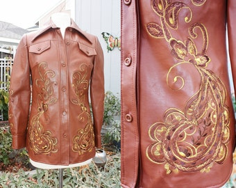 1970's Embroidered Jacket Vinyl Brown Size 10 Small Medium Vintage REtro 70s Faux Leather Earthtones Hipster Boho Hippie Festival