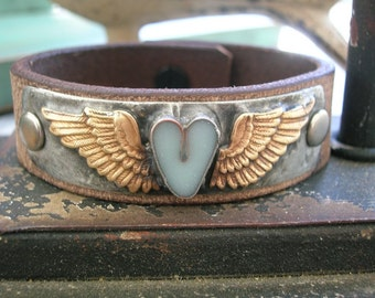 Winged heart leather cuff bracelet - Little Wing - bohemian jewelry, boho chic, sky blue, romantic love, country cowgirl, angel wing jewelry